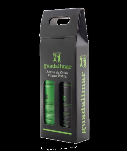 Estuche de 2 botellas de 500 ml Willy DOP AOVE Temprano Etiqueta Negra y Ecológico | Aceites Guadalimar