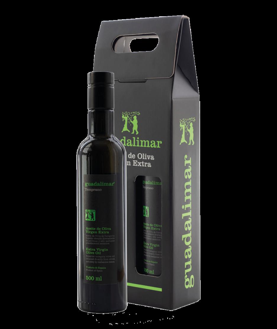 Estuche de 2 botellas de 500 ml Willy DOP AOVE Temprano Etiqueta Negra | Aceites Guadalimar