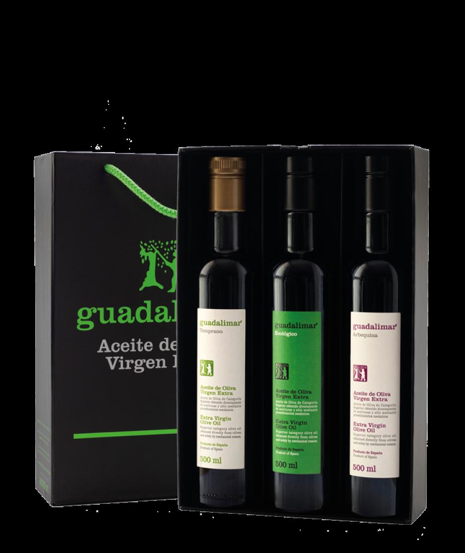 Estuche de 3 botellas de 500 ml Willy DOP AOVE Transparente, Ecológico y Arbequina | Aceites Guadalimar