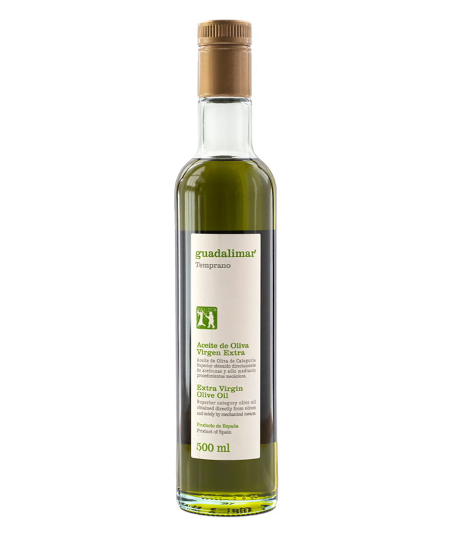 Caja de 6 botellas de 500 ml Willy DOP AOVE Temprano Transparente | Aceites Guadalimar